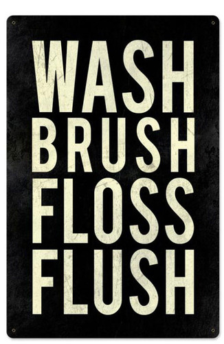 Wash Powder Room Metal Sign 16 x 24 Inches