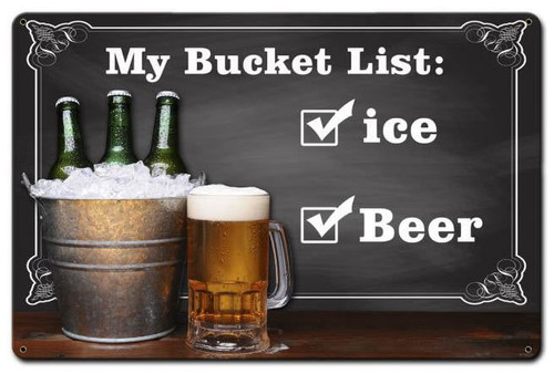 Bucket List Custom Shape Metal Sign 18 x 12 Inches