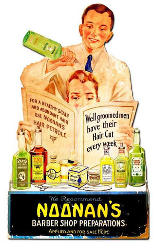 Noonans Barber Shop Vintage Metal Sign 15  x 24 Inches
