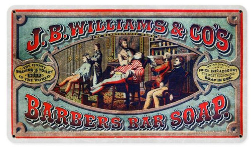 Jb Williams Barbers bar Soap Vintage Metal Sign 14  x 8 Inches