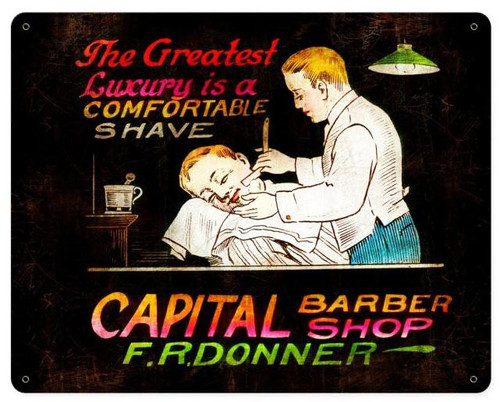 Capital Barber Shop Vintage Metal Sign 15  x 12 Inches