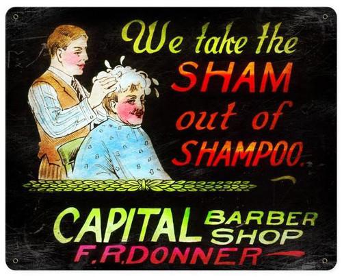 We Take The Sham barber Shop Vintage Metal Sign 15  x 12 Inches