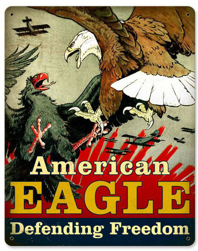 American Eagle Vintage Metal Sign 12  x 15 Inches