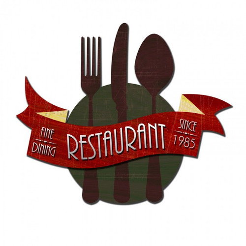 3-D FINE RESTAURANT Metal Sign 24 x 20 Inches