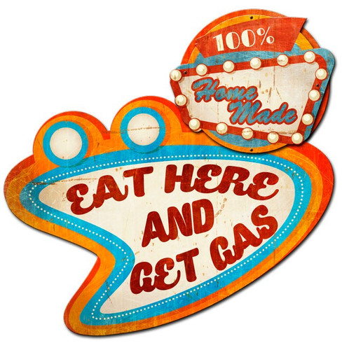 Retro Eat Here Get Gas 3D Metal 30 x 27 Inches