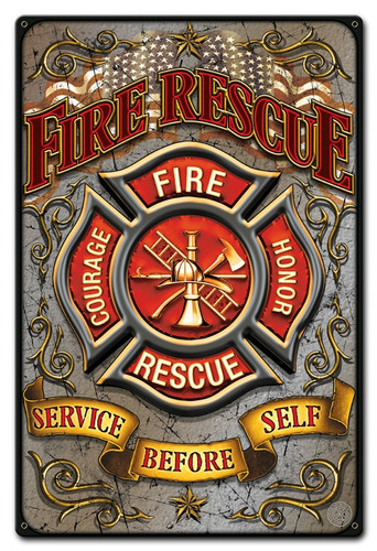 Fire Rescue Metal Sign 12 x 18 Inches