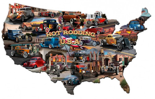 Hot Rod Usa Map Metal Sign 25 x 16 Inches