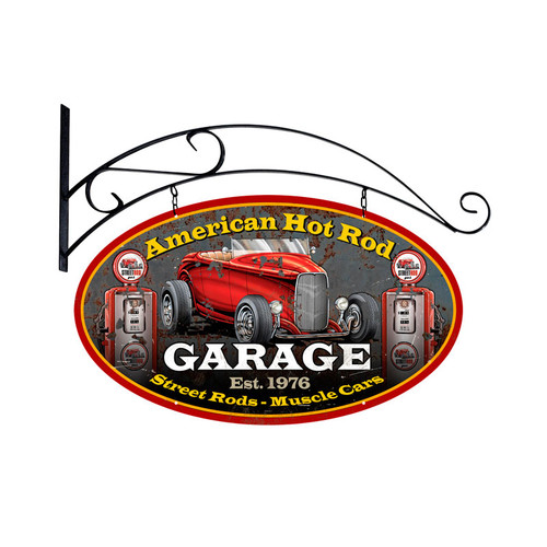 American Hot Rod Metal Sign 24 x 24 Inches