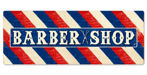 Barber Shop Large Double Sided Metal Sign 48 x 18 Inches
