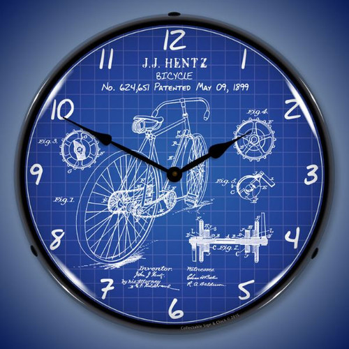1899 Bicycle Patent Lighted Wall Clock 14 x 14 Inches
