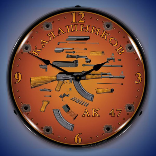 AK 47 Lighted Wall Clock 14 x 14 Inches