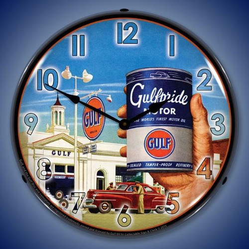 Gulfpride Motor Oil Lighted Wall Clock 14 x 14 Inches