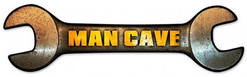 Vintage-Retro Man Cave Wrench Custom Shape Metal-Tin Sign