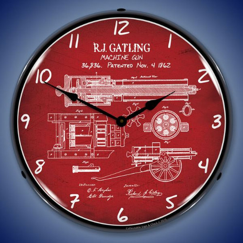 Gatling Gun Patent Lighted Wall Clock 14 x 14 Inches