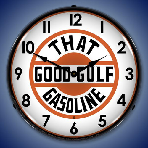 That Good Gulf Gasoline Lighted Wall Clock 14 x 14 Inches