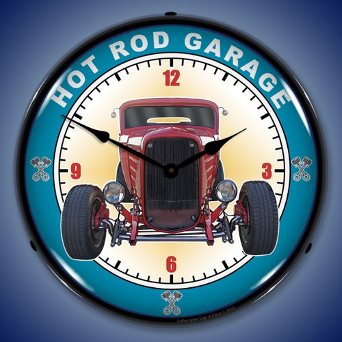 Hot Rod Garage Lighted Wall Clock 14 x 14 Inches