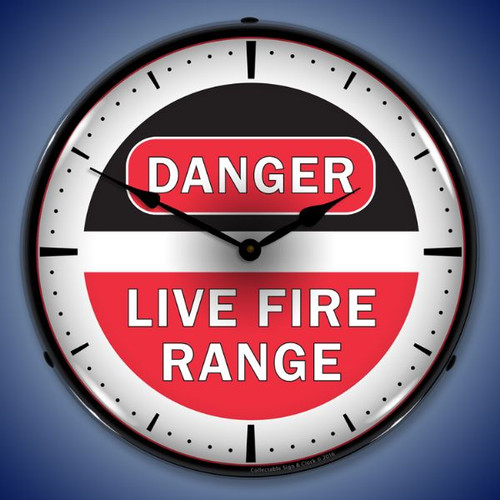 Live Fire Range Lighted Wall Clock 14 x 14 Inches