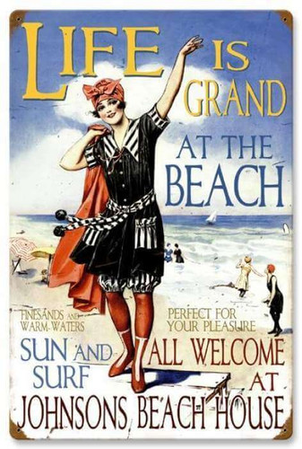 Vintage Beach House Metal Sign - Personalized 16 x 24 Inches