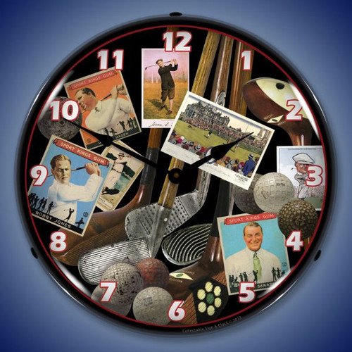 Golf Early Days Lighted Wall Clock 14 x 14 Inches