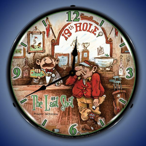 The Last Shot 19th Hole Lighted Wall Clock 14 x 14 Inches