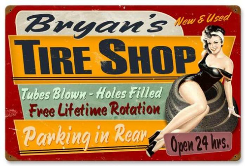 Vintage-Retro Tire Shop Metal-Tin Sign - Personalized
