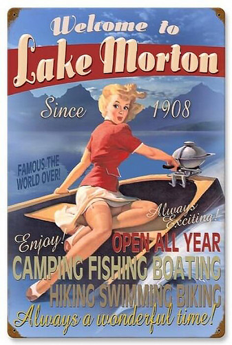 Retro Welcome to Lake Metal Sign - Personalized 16 x 24 Inches