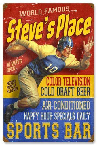Retro Sports Bar Metal Sign - Personalized 16 x 24 Inches