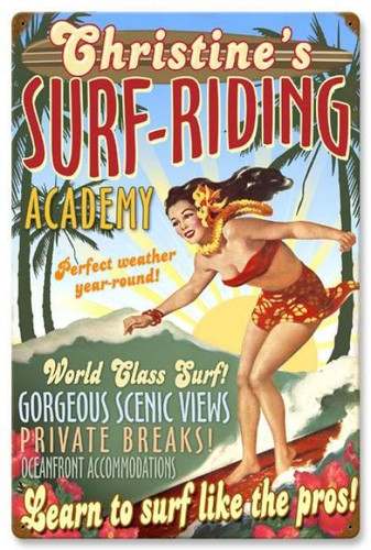 Vintage-Retro Surf Academy Metal-Tin Sign - Personalized