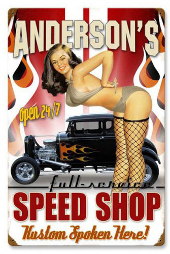 Speed Shop Tin Sign - Personalized 16 x 24 Inches