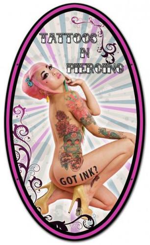 Tattoos Piercinge Metal 14 x 24 Inches