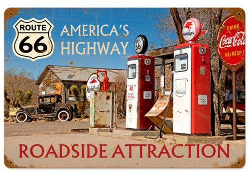 Americas Highway Rout 66 Metal Sign  18 x 12 Inches