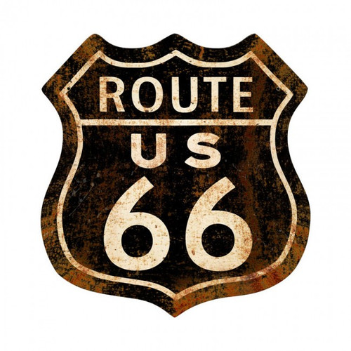 Route 66 Rusty Metal Sign  28 x 28 Inches