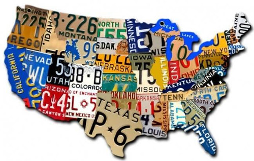Small License Plate Usa Map Metal Sign 10 x 6 Inches