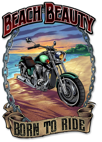 Motorcycle on the Beach Metal Sign 12 x 18 Inches