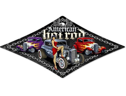 American Hot Rod Metal Sign 24 x 14 Inches
