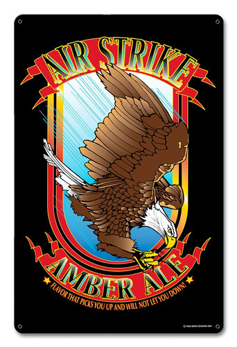 Airstrike Amber Ale Metal Sign 12 x 18 Inches