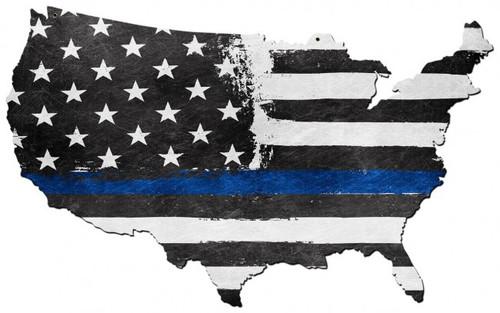 USA Map Thin Blue Line Metal Sign
