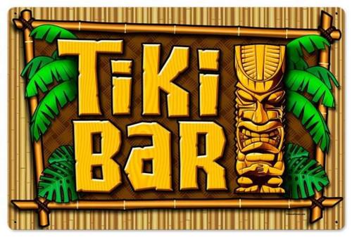 Vintage-Retro Tiki Bar Metal-Tin Sign LARGE