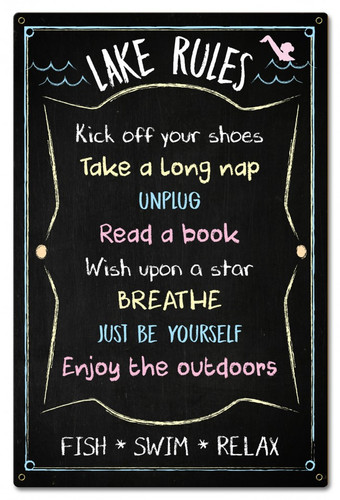 Lake Rules Chalk Drawing Metal Sign 16 x 24 Inches