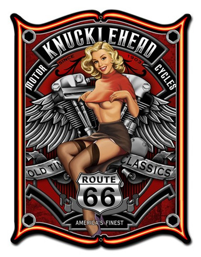 Knucklehead Pinup Girl Metal Sign 24 x 33 Inches