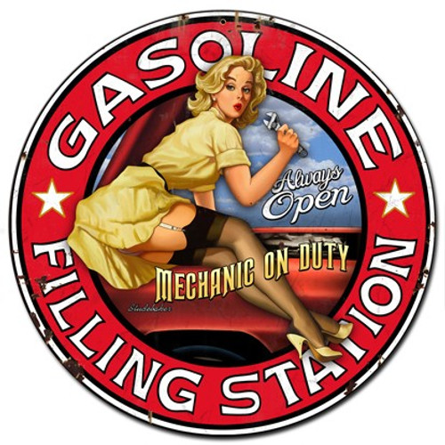 Filling Station Pinup Girl Metal Sign 24 x 24 Inches