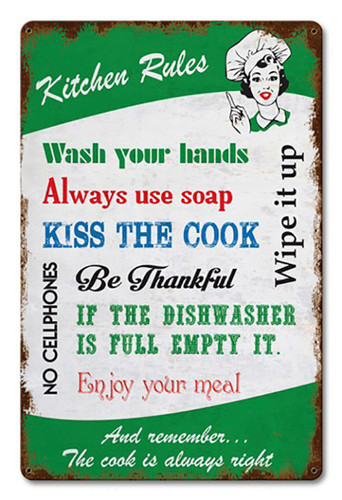 Kitchen Rules Metal Sign 18 x 12 Inches