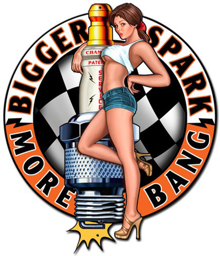 Bigger Sparks Pinup Girl Metal Sign 24 x 28 Inches