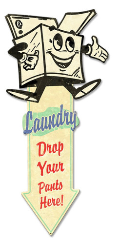 Landry Arrow Down  Metal Sign 27 x 12 Inches