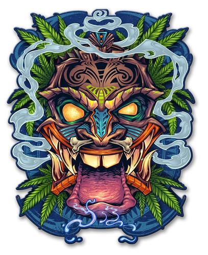 Tiki Head Metal Sign 13 x 17 Inches