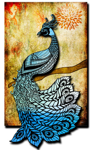 3-D Layered Peacock  Metal Sign 16 x 24 Inches