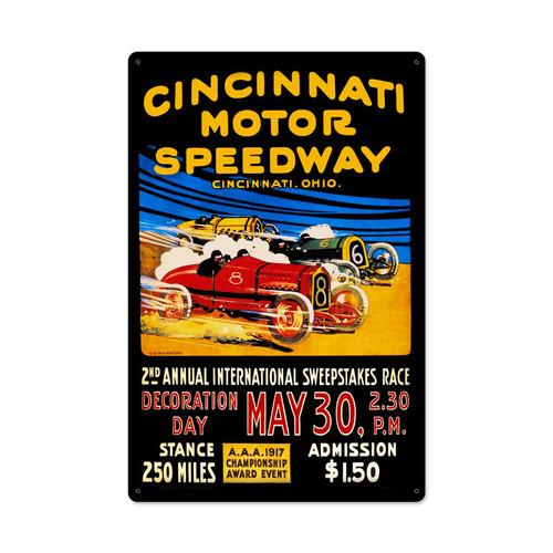 Cincinnati Motor Speedway Metal Sign 16 x 24 Inches