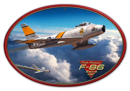 F-86 Saber Jet 17x12 Metal Sign 17 x 12 Inches