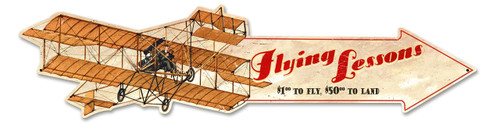 Flying Lessons Plane Arrow Metal Sign 31 x 7 Inches