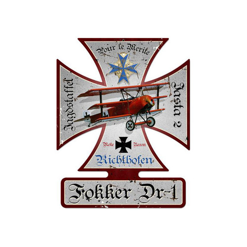 Fokker Dr-1 Metal Sign 18.5 x 14.5 Inches